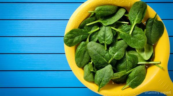 Шпинат относится к продуктам-лидерам по содержанию фолиевой кислоты