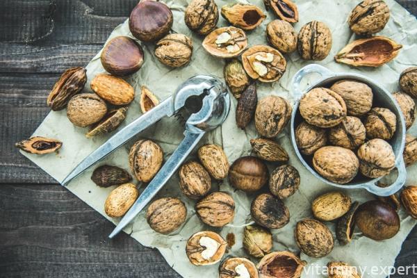 Разные сорта орехов